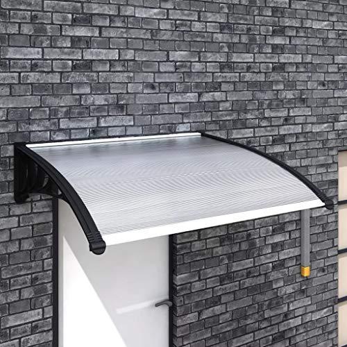 Cikonielf Markise aus Polycarbonat Schutzdach für Türen und Fenster 150 x 100 cm, schwarz+transparent