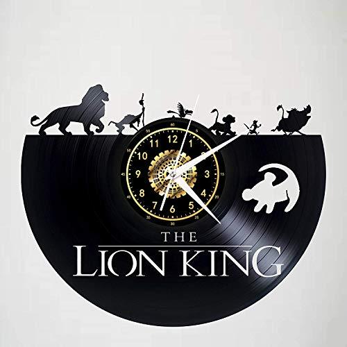 Leileixiao Reloj de Pared de Vinilo de grabación, Disney Animal Park Reloj de Pared, Hecho a Mano Arte Creativo decoración casera de la Pared Mejores Regalos (Color : A)