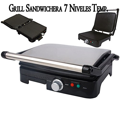 Suinga Panini Grill Profesional 7 Niveles de Temperatura, Parrilla eléctrica, Plancha y sandwichera con Revestimiento de Piedra 35 x 34. 2000W.