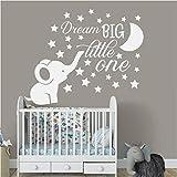 Calcomanías de pared de vivero de elefantes decoración de habitación de bebé niño sueño gran cita pegatina de pared vinilo luna y estrellas calcomanía niños