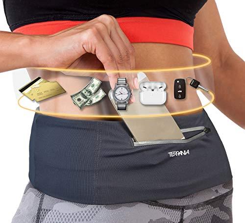 Tirrinia Unisex Running Belt Fanny Pack for iPhone X 6 7 8 Plus 11 12 Pro X XR XS, Runner Workout Belt Waist Pack for Women and Men Walking Fitness Jogging Travel Carbon/Large