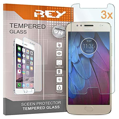 REY [Lot de 3] Verre Trempé pour Motorola Moto G5S / Moto G5 S, Protecteur d'écran qualité supérieure