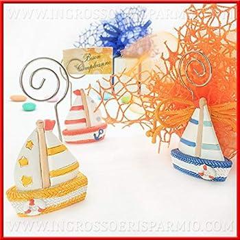 18 Fette - Senza Confetti bomboniere Tema Mare Feste di Compleanno Maschio Femmina Ingrosso e Risparmio Struttura a Forma di Torta in cartoncino con animaletti marini Colorati Assortiti