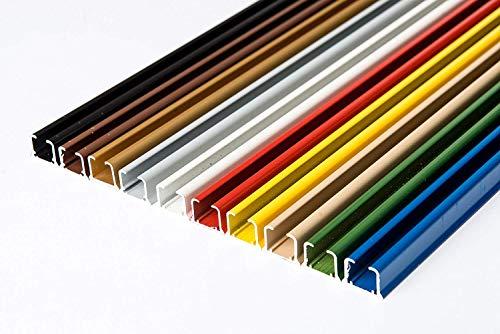 Rollmayer glänzend einläufig Gardinenschiene aus Aluminium (Blau Gardinenschiene mit Faltenlegehaken, 140cm) Deckenbefestigung mit SMART-klick Montage, Innenlaufschiene für Vorhänge