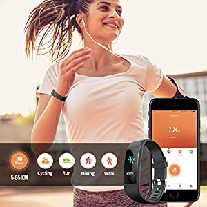 Fitness Tracker HR, Y1 Activity Tracker Watch with Heart Rate Monitor, Pedometer IP67 Waterproof Sleep Monitor Step Counter for Android & iPhone (Black-Special Edition)