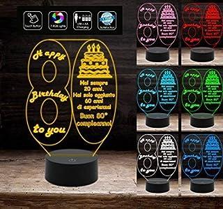 BUON COMPLEANNO Lampada a led 7 colori selezionabili personalizzata con numero 80 regalo AUGURI da tavolo o scrivania Deco...