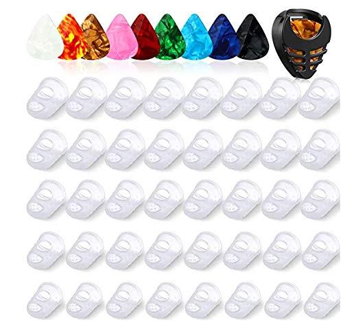40 Stücke Gitarren Finger Spitzen Schutz in 5 Größen 10 Stücke Plektren 0,5 mm mit 1 Plektrum Halter, Gitarren Fingerschutz für Saiten Instrumente Gitarren Bass Ukulele Bass Nähen Sport
