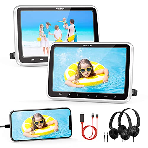 """FANGOR Car DVD Player Dual Screen with HDMI Input 2 Headrest Mounts Headphones Support 1080P MP4 Video USB/SD Card Memory Function Ideal for Kids Travel (2 x 10.5"""" Portable DVD Player for Car)"""