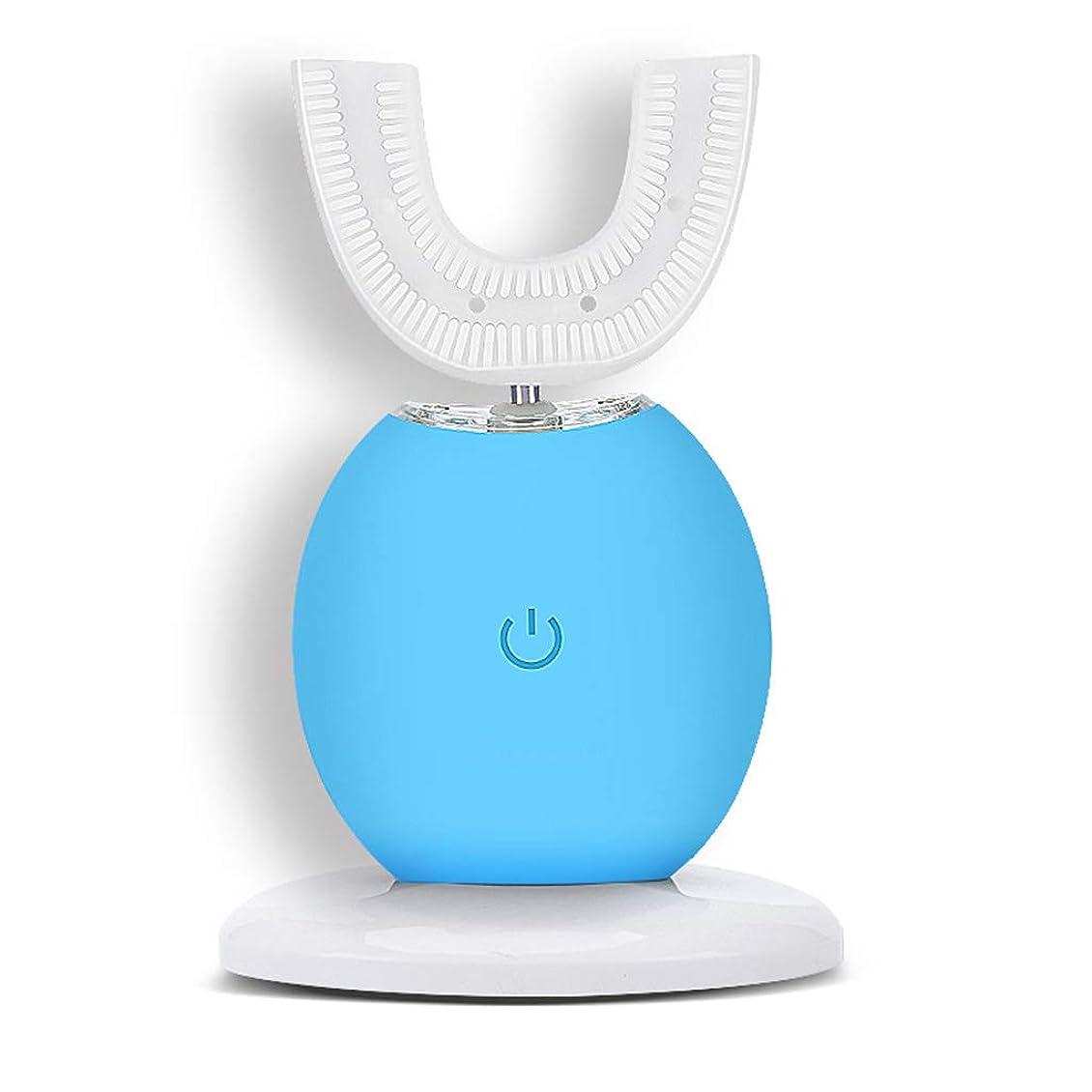 ちょっと待ってブレースピカソ自動電動歯ブラシインテリジェント超音波ホワイトニング防水カップルブレース怠惰なブラッシングアーティファクト (色 : 青)