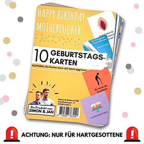 Geburtstagskarten (10 x unterschiedliche Glückwunschkarten) - ACHTUNG: leicht aggressiv - nicht geeignet für den Geburtstag deiner Mama - Grußkarten Postkarten Kartenset
