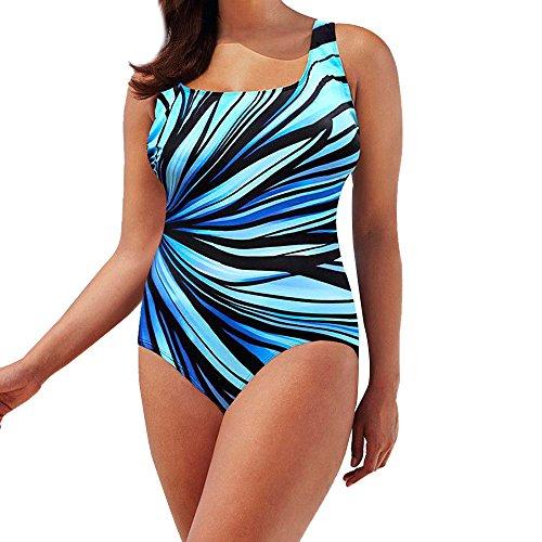 Xmiral Badeanzüge Strandkleidung Einteiliger Rückenfrei Bademode Triangel Wassersport Gestreift Schwimmanzug(XL=DE38-40,Blau)
