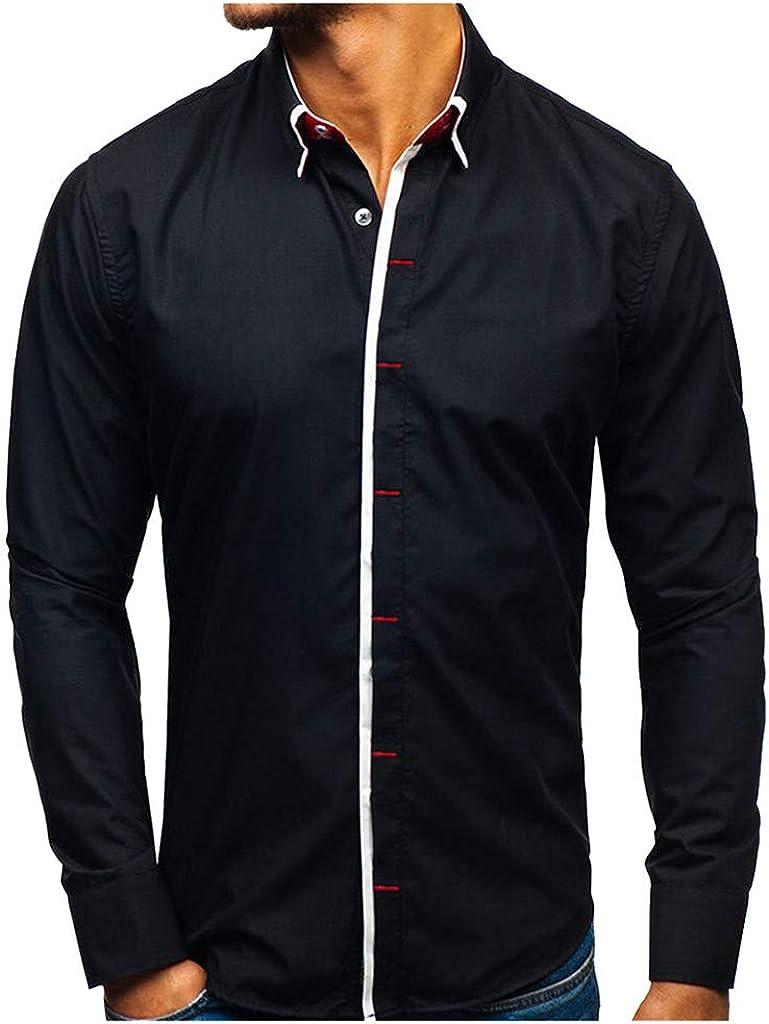 Men's Shirt Long Sleeve Slim Fit Casual Button Down Solid Dress Shirt Tops