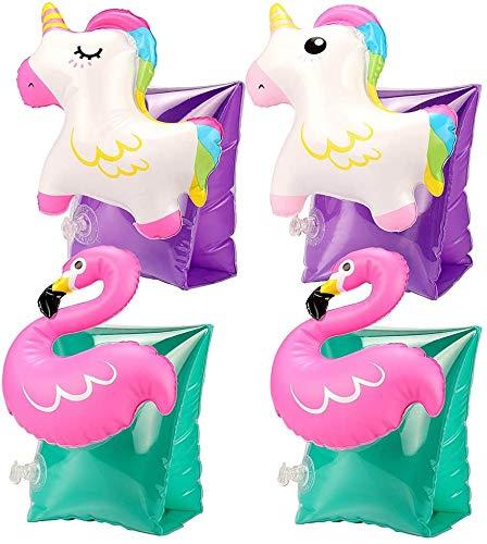 Tacobear 2 Paar Schwimmflügel Schwimmhilfe Kinder Einhorn Flamingo Design Schwimmen Lernen Armbands Flotation Aufblasbar 3D Cartoon Schwimmhilfe für Kinder Jungen Mädchen
