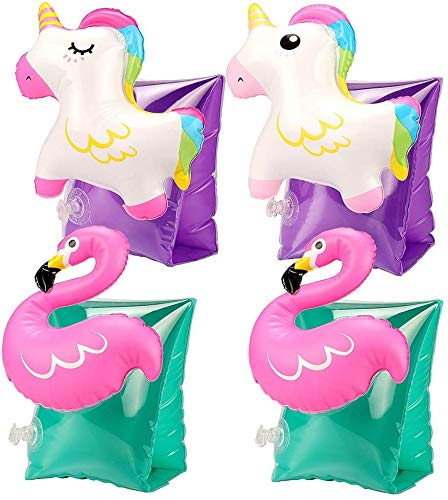Tacobear 2 Paia Braccioli Bambini 3D Piscina Braccia Gonfiabili Braccio Fenicottero Unicorno...