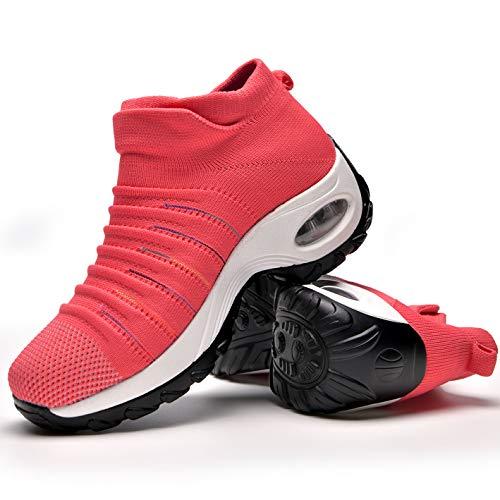 Zapatos Deporte Mujer Zapatillas Deportivas Correr Gimnasio Casual Zapatos para Caminar Mesh Running Transpirable Aumentar Más Altos Sneakers Pink-35
