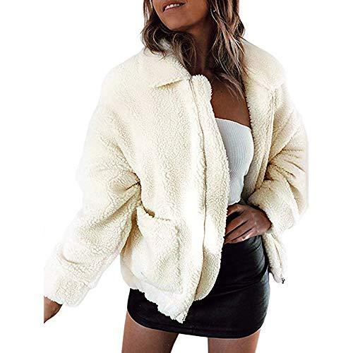 GOKOMO Damen Jacke Winter Warmer Parka Outwear Damen Mantel Mantel(Beige,XX-Large)