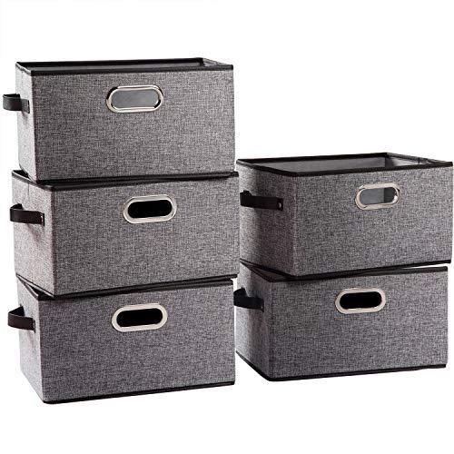 Prandom - Cestas de almacenamiento plegables grandes para armario [5 unidades] cubos de almacenamiento de tela decorativa con asas de...