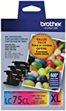 2 X Brother Printer LC753PKS 3 Pack- 1 Each LC75C, LC75M, LC75Y Ink