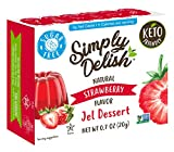 Simply Delish Natural Strawberry Jel Dessert - Sugar Free, Non GMO, Gluten Free, Fat Free, Vegan, Keto Friendly - 0.7 OZ (Pack of 6)