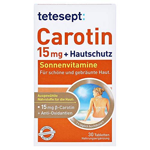 tetesept Carotin 15 mg + Hautschutz Sonnenvitamine für schöne und gebräunte Haut, 30 St. Tabletten