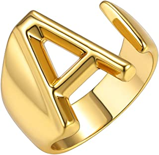 Personalized Gold Bold Initial Letter Open Ring Adjustable Women Statement Rings Party|Women's Signet Ring|18K Gold Plated Open Alphabet Rings|Letter A to Z