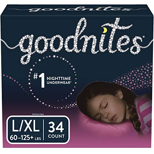 Goodnites Bedwetting Underwear for Girls, L/XL, 34 Ct, Discreet