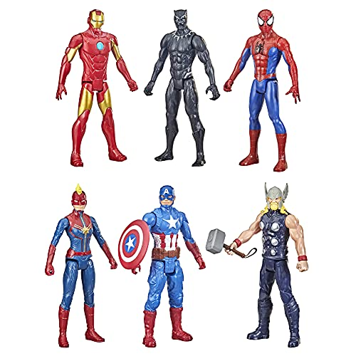 Marvel Titan Hero Series Action Figure Multipack, 6 Action Figures, 12-Inch Toys, Inspired Comics, for Kids Ages 4 and Up (Amazon Exclusive)
