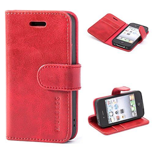 Mulbess Handyhülle für iPhone 4s Hülle Leder, iPhone 4s Handy Hüllen, Vintage Flip Handytasche Schutzhülle für iPhone 4 / 4s Case, Wein Rot