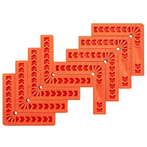 AMTOVL Set 8pz Squadra di Posizionamento 90° per Carpentiere 8X4' Morsetto Angolare a L in Plastica per Lavorazione Legno 8x Morsetti ad Angolo Retto per Cornici di Quadro Armadi Cassetti - Arancione