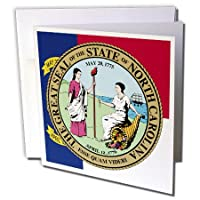 Sandy Mertens North Carolina – State Seal with Flag in背景 – グリーティングカード Set of 6 Greeting Cards