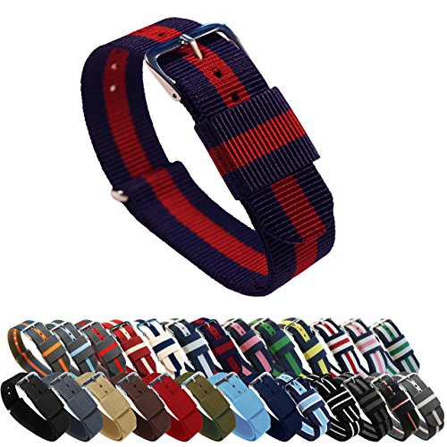 BARTON Watch Bands - Choice of Color, Length & Width (18mm, 20mm, 22mm or 24mm) - Navy/Crimson 18mm - Standard Length