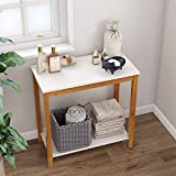 BAMEOS Bamboo Side Table Console Side Table, 2-Tier End Accent Table with Storage Shelf, Modern Furniture for Living Room Bedroom Balcony Family and Office in White Color(23.62 x 11.81 x 23.23 in)