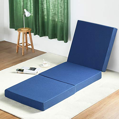 "Olee Sleep Tri-Folding Memory Foam Mattress Topper (TWIN, 38"" x 78""), Blue, Twin"