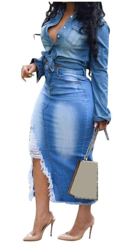 GodeyesW 女性ファッションヒップスターは、穴をあけられた生の裾ol