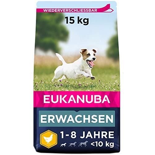 Eukanuba Hundefutter mit frischem Huhn für kleine Rassen, Premium Trockenfutter für ausgewachsene Hunde, 15 kg