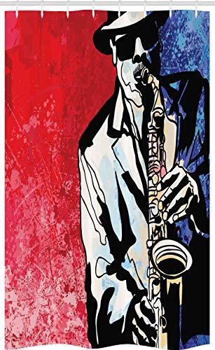 ABAKUHAUS Jazz Douchegordijn, Musicus spelen saxofoon, voor Douchecabine Stoffen Badkamer Decoratie Set met Ophangringen, 120 x 180 cm, Vermilion Navy Blue