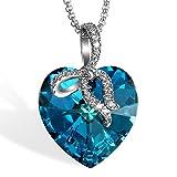 Cupimatch Donna Collana Cristallo Swarovski Elementi Cuore dell'Oceano Cambiamento Blu e Verde