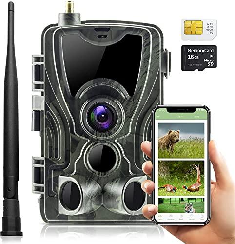 SuntekCam 4G APP Live Video 4K 30MP Fotocamera Caccia Fototrappola , IP66,server gratuito, scansione del codice QR del telecomando, connessione riuscita. compresa la scheda SIM e la scheda SD.-801PRO