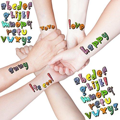 Oblique Unique® ABC Buchstaben ALS temporäre Tattoos I Kinder Geburtstag Party