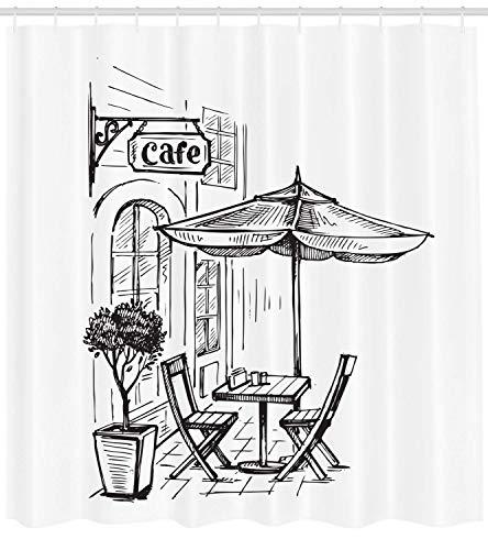 N\A Kaffee-Duschvorhang, europäische Landschaft mit einem Straßenkaffee in der Altstadt Bistro-Restaurant Sketch Art, Stoff Stoff Badezimmer Dekor Set mit Haken Siegel Braun Weiß