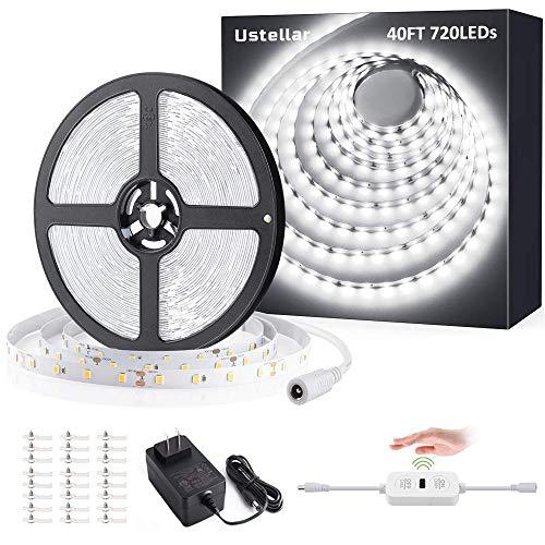 Ustellar 40ft LED Strip Lights, 720 LEDs Dimmable Hand Wave Activated Control Light Strip 24V LED Ribbon Light, Under Cabinet Lighting Strips, Non-Waterproof LED Tape, 6000K Daylight White, ETL Listed