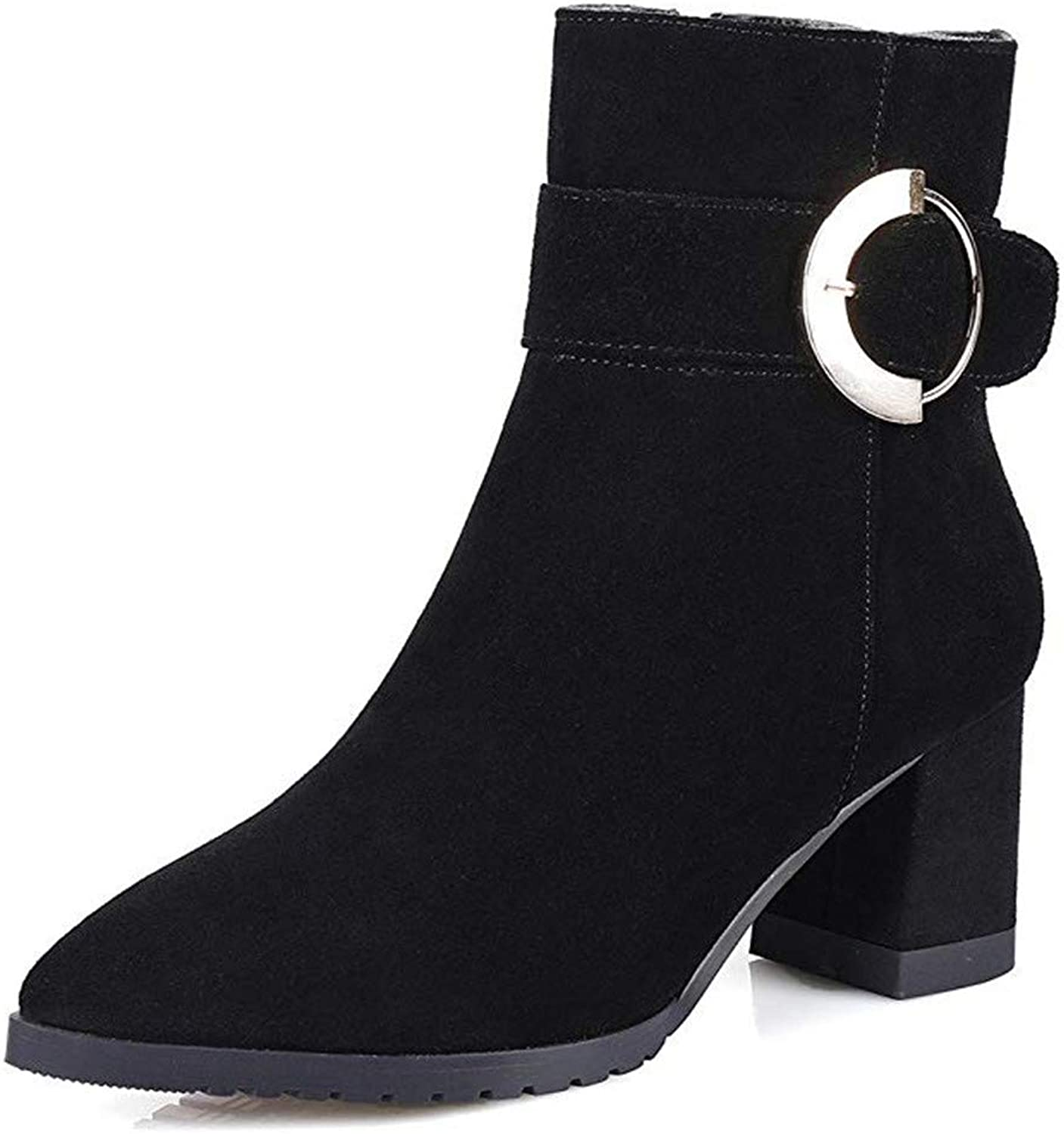Nine Seven Suede Leather Women's Pointed Toe Chunky Heel Buckle Classic Handmade Black Ankle Boots (4, Black)