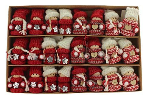 MIK Funshopping 24er Set Weihnachtswichtel als Baumbehang - Wichtelkinder Weihnachtsdekoration (Strickkleidchen weiß-rot-grau)
