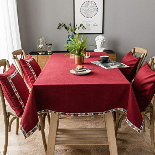 Pahajim Mantel de lino de algodón vintage Mantel rectangular a prueba de polvo Mantel bordado con borlas para la cocina (rojo, cuadrado, 53'x53'(4 asientos))