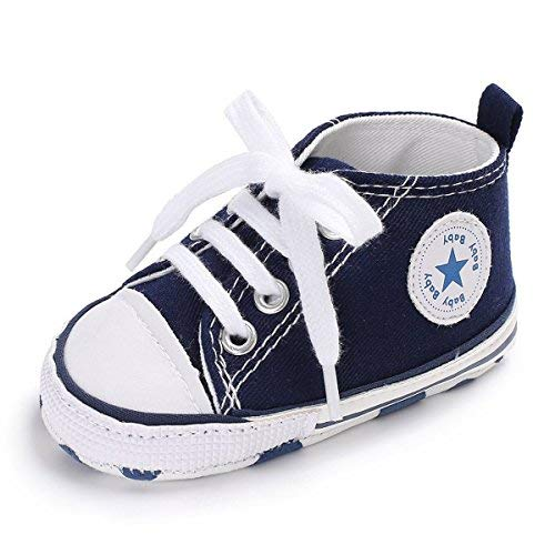 Baby Boys Girls Canvas Shoes Premium Soft Sole Infant Basic Sneakers Toddler First Walkers (12-18 Months Infant, C-Dark Gray)
