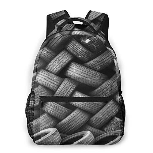 Lawenp Mode Unisex Rucksack Old Tyres Bookbag Leichte Laptoptasche für Schulreisen Outdoor Camping