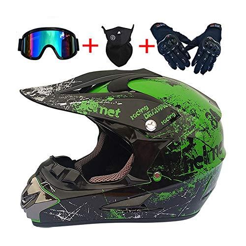 Profesional Cascos de Motocross de Motos con Gafas Máscara Guantes, Cascos de...