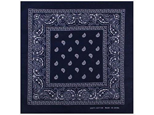 Sonnenscheinschuhe® 1 x Bandana Tuch Paisley Dunkelblau 100% Baumwolle Kopftuch Halstuch Schal navy