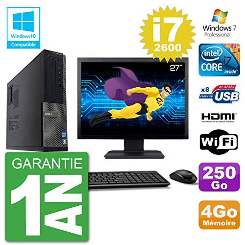 Dell PC 390 DT Pantalla 27 Pulgadas Intel i7-2600 RAM 4 GB Disco 250 GB DVD-Brenner WiFi W7