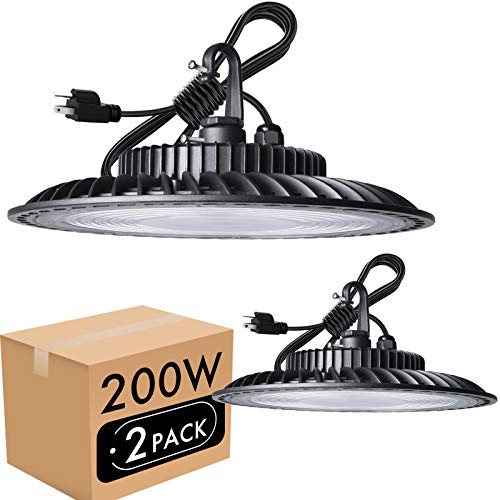 Lightdot 2Pack 200W LED High Bay Light 24000lm (Eqv.800W MH/HPS) Commercial Bay Lighting, 5000K Daylight, 5' Cable with US Plug High Bay LED Light for Warehouse/Workshop/Wet Location Area Light
